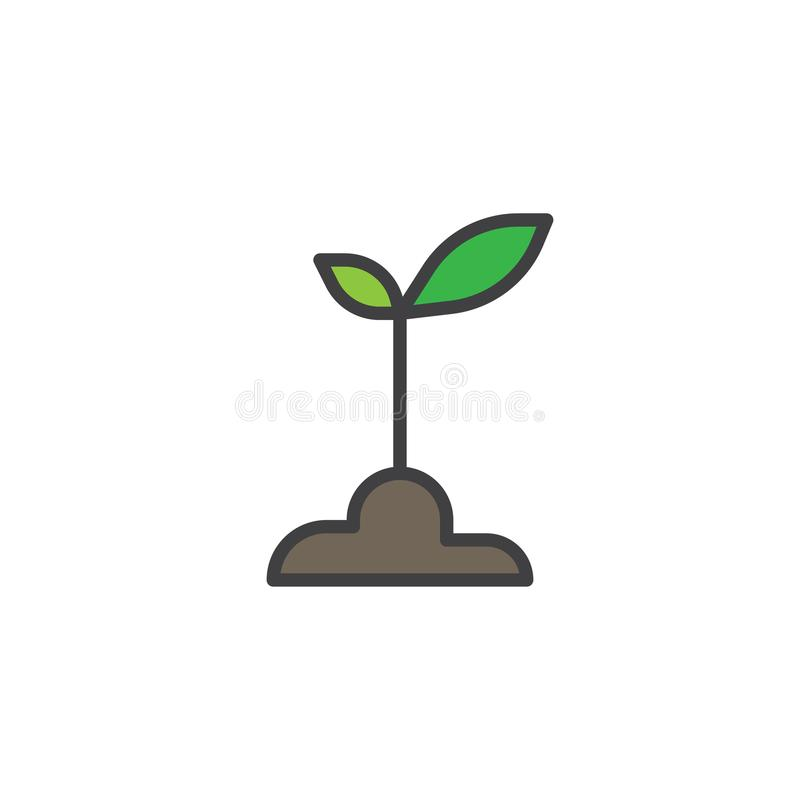 Sprout filled outline icon royalty free illustration