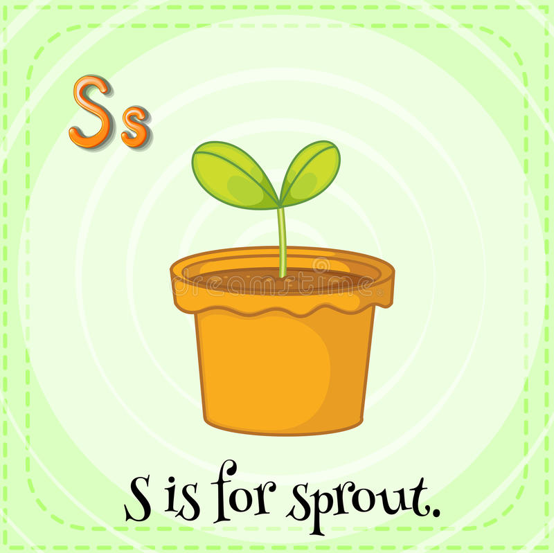 Sprout. Flashcard letter S is for sprout royalty free illustration