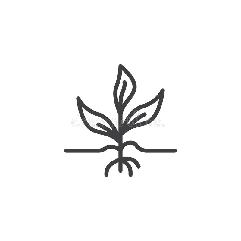 Sprout growing out from soil line icon stock illustration