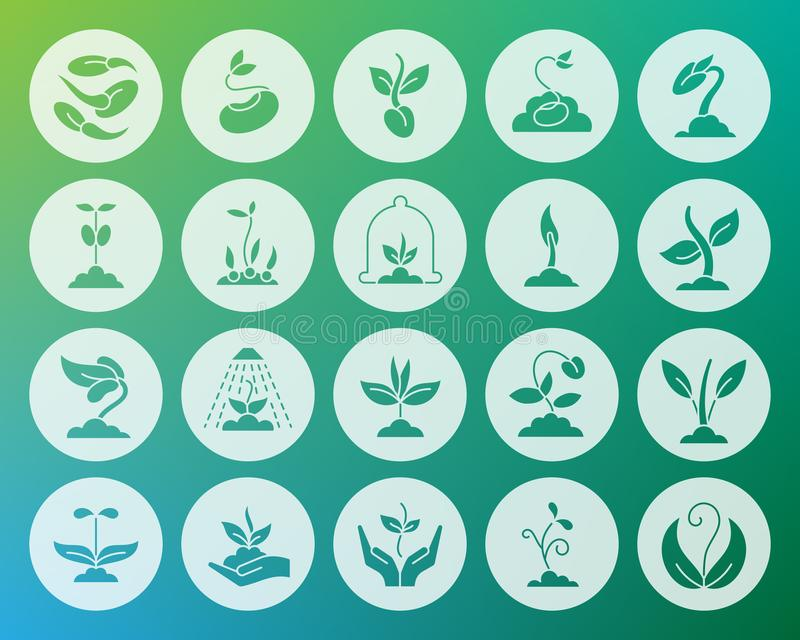 Sprout shape carved flat icons vector set. Sprout icons set. Web sign kit of seeds. Plant pictogram collection includes flower, soil, planting. Simple sprout stock illustration