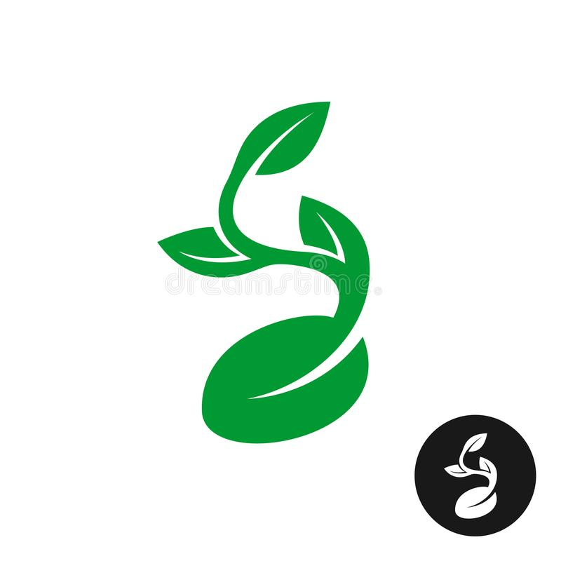 Sprout logo. One shape style plant with seed and green leaves stock illustration