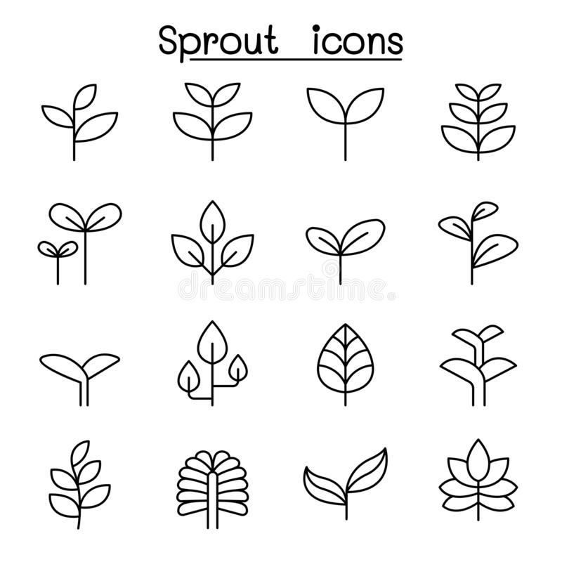 Sprout, plant, treetop, leaf icon set in thin line style. Vector illustration graphic design vector illustration