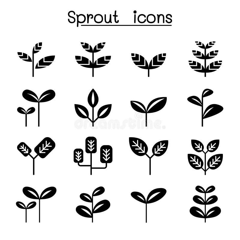 Sprout, plant, treetop, leaf icon set vector illustration graphic design. Flat black vector illustration