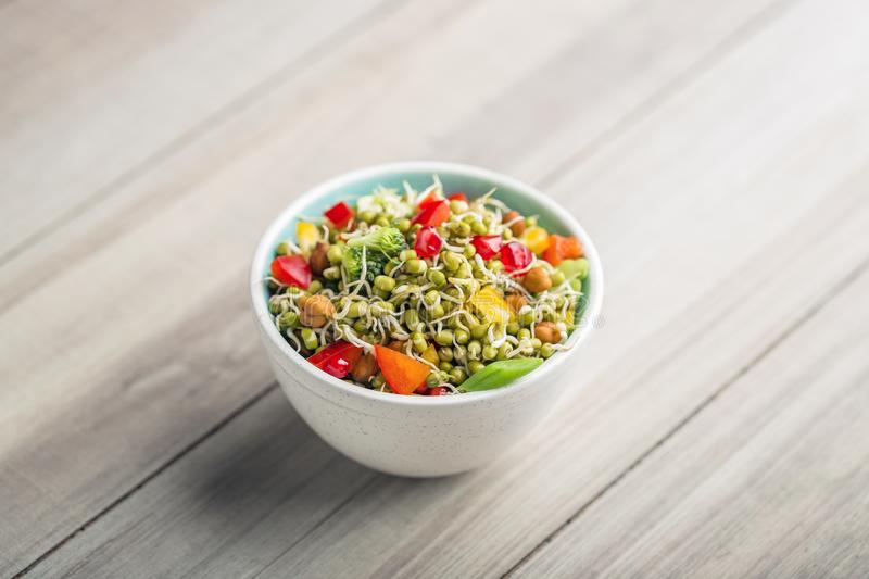 Sprouted lentil salad with sliced lemon. Sprouted salad with sliced lemon served in a bowl for good health royalty free stock photo