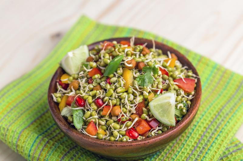 Sprouted lentil salad stock image