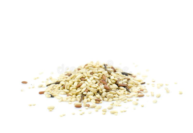 Sprouted rice and quinoa blend on white background royalty free stock photography