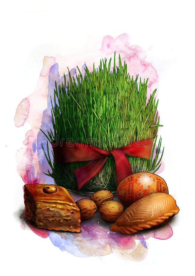 Sprouted seeds with red ribbon, a traditional symbol of Novruz Bayram - semeni, with cookies, walnuts and painted egg, sketch royalty free illustration