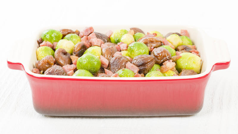 Sprouts, Chestnuts & Bacon stock photo