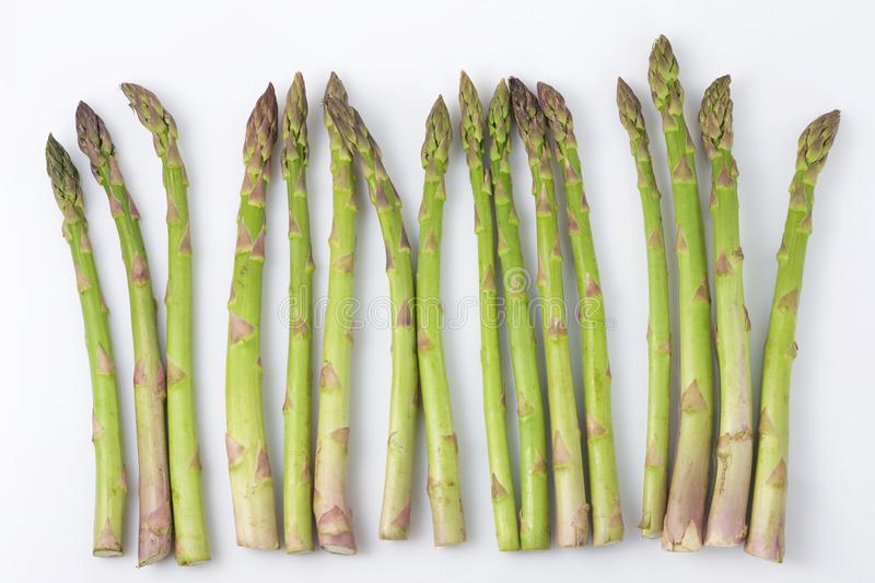 Sprouts of green asparagus on a white background stock photography