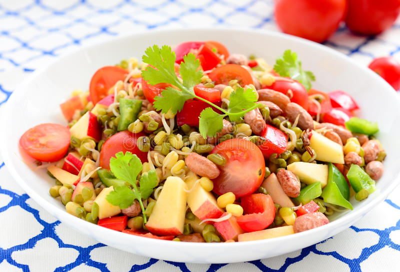 Sprouts salad- mung beans/green gram. Fresh, healthy sprouted mung dal or moong beans royalty free stock photos