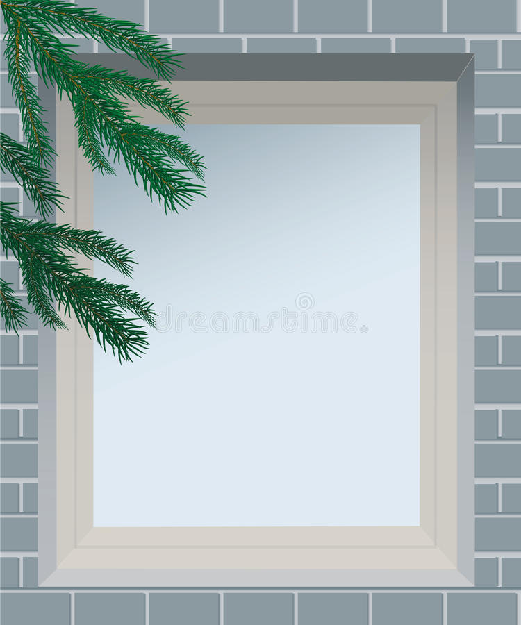 Spruce Branches Against The Window In Brick Wall. Stock Images
