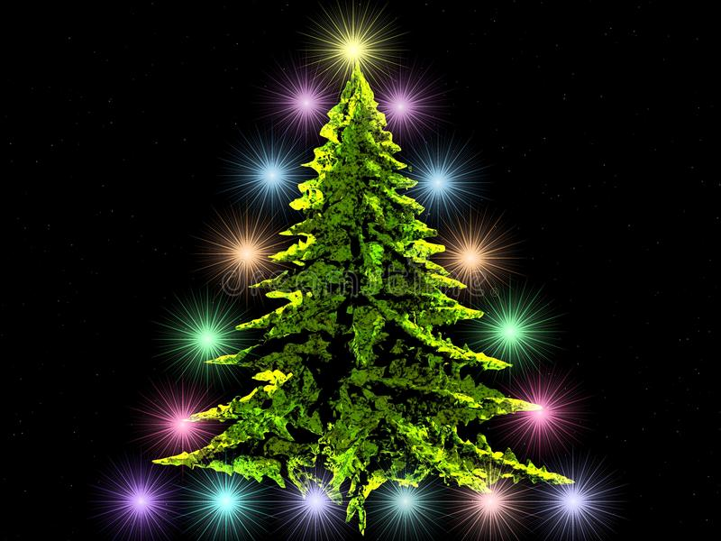Spruce decorated with lights