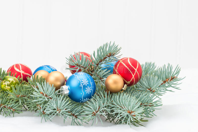 Spruce and Decorations royalty free stock images