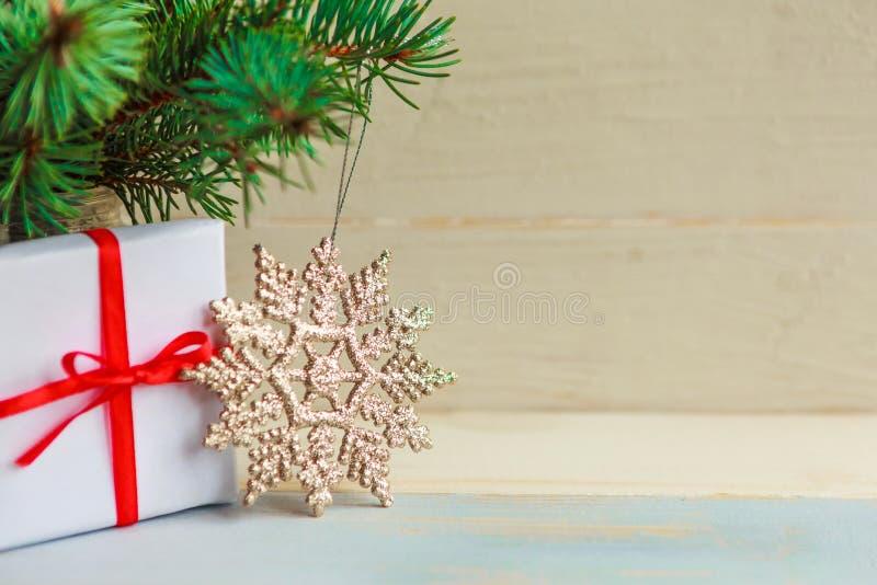 Spruce-grenar och presentbox royaltyfri foto