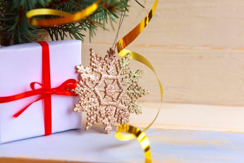 Spruce-grenar och presentbox royaltyfria bilder