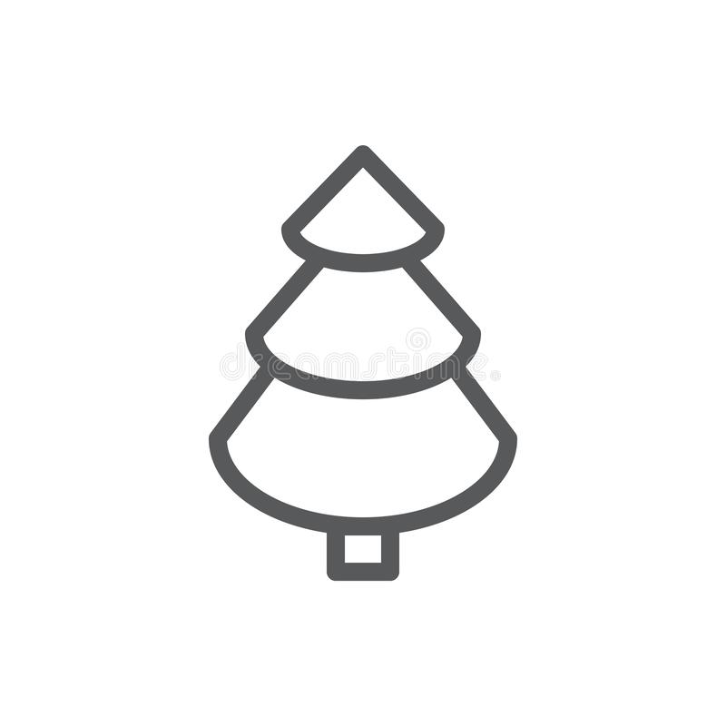 Spruce line icon with editable stroke vector illustration - outline symbol of evergreen pine tree for natural design. Pixel perfect pictogram of fir-tree of stock illustration