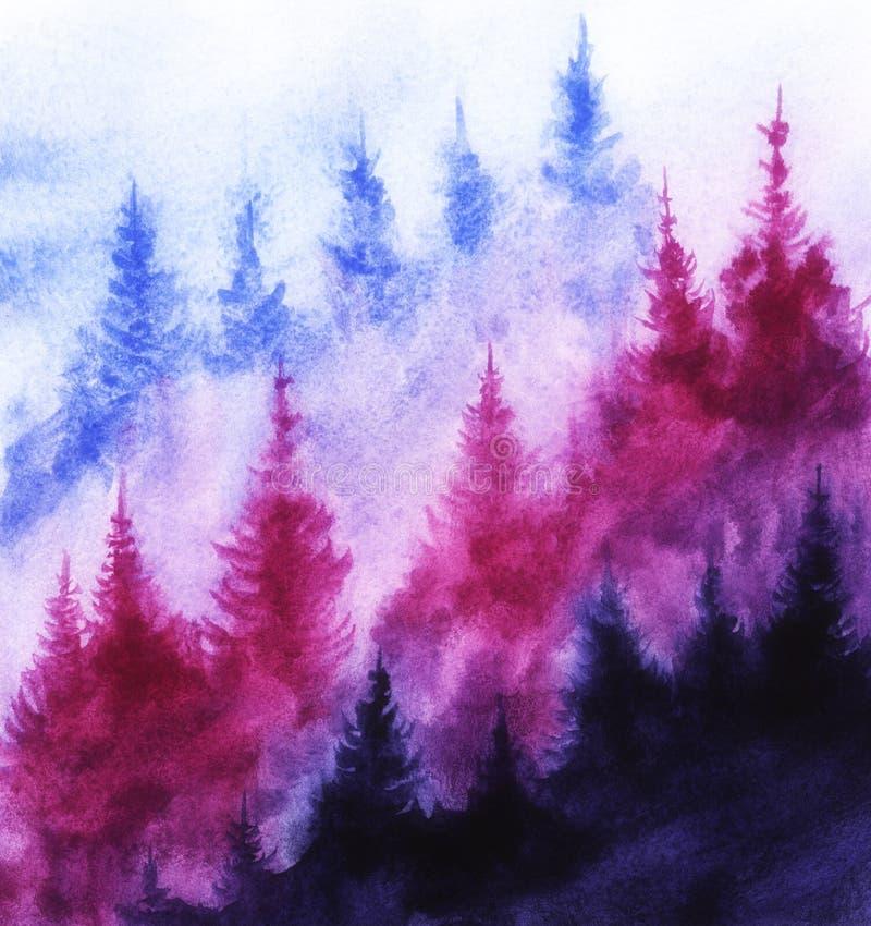 Spruce-skogen i dimman blåa, blå silhuetter av gran Bakgrundsbild Färgbild för handritad vattenfärg arkivfoto