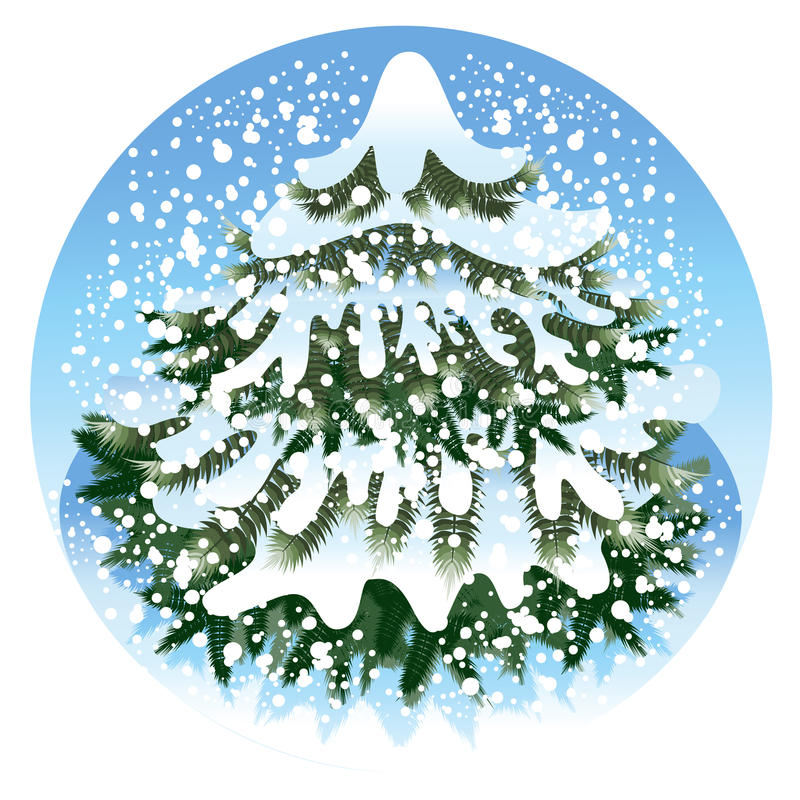 Download Spruce in the snow stock illustration. Illustration of decoration - 26295786