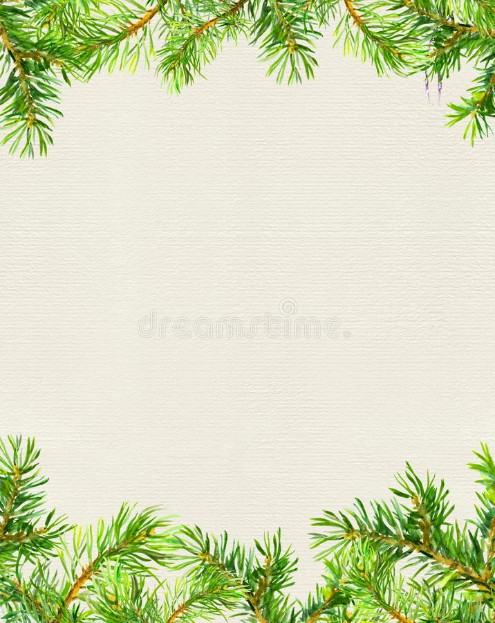 Spruce tree branches border. Christmas card. Watercolor vector illustration
