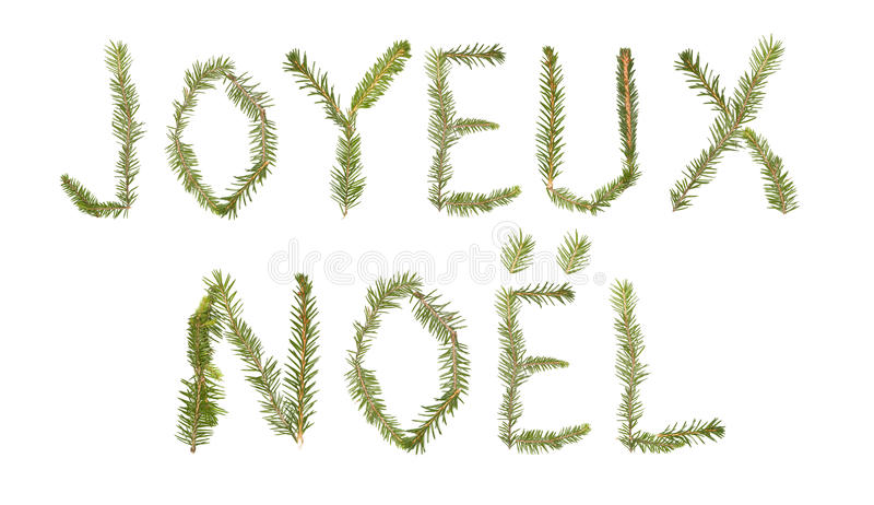 Download Spruce Twigs Forming The Phrase 'Joyeux Noel' Stock Image - Image: 11136145