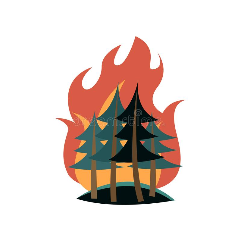 Spruces in forest on fire isolated on white background stock illustration