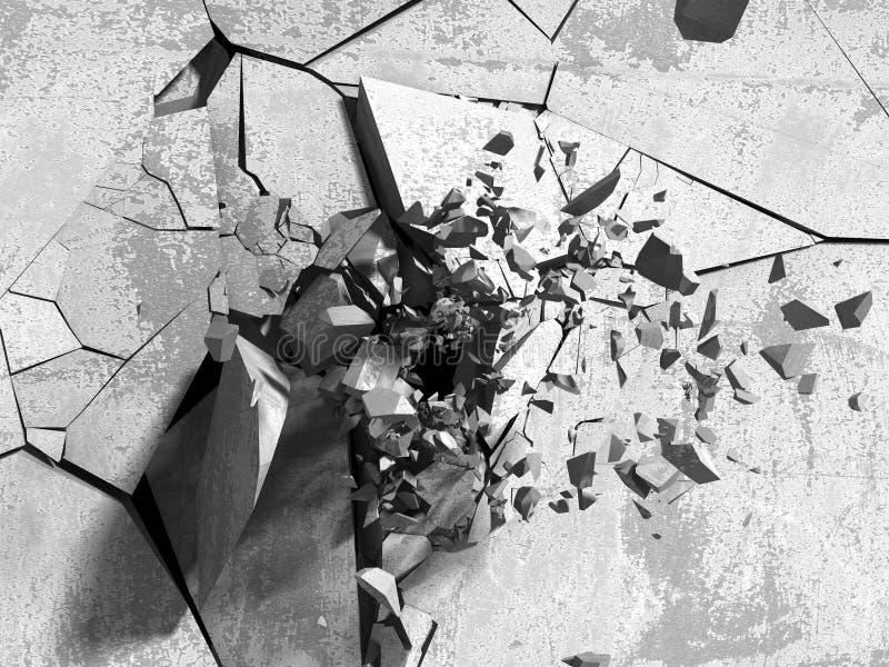 Sprucken betongvägg med kulexplosionhålet arkivfoto