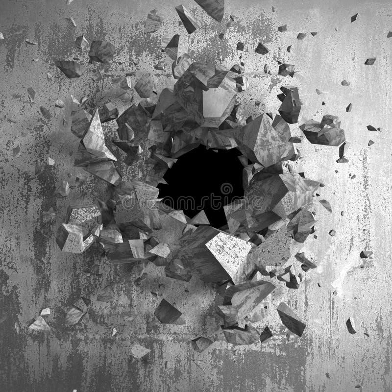 Sprucken bruten vägg för mörker i betongvägg Kan användas som en vykort royaltyfri illustrationer