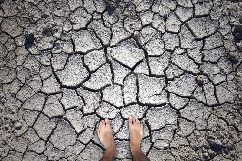 Sprucken jordtextur med barfota mänskliga ben royaltyfria foton