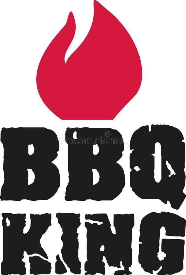 Sprucken stilsort för BBQ-konung med flamman royaltyfri illustrationer