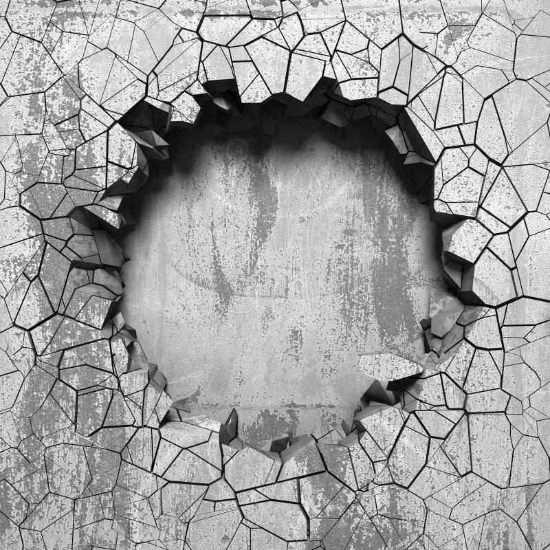 Sprucket brutet hål för mörker i betongvägg Kan användas som en vykort vektor illustrationer