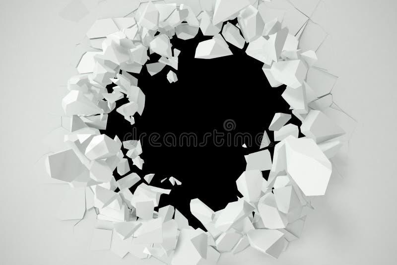 Sprucket förstörelse av en vit vägg, mall för ett innehåll framförande 3d stock illustrationer
