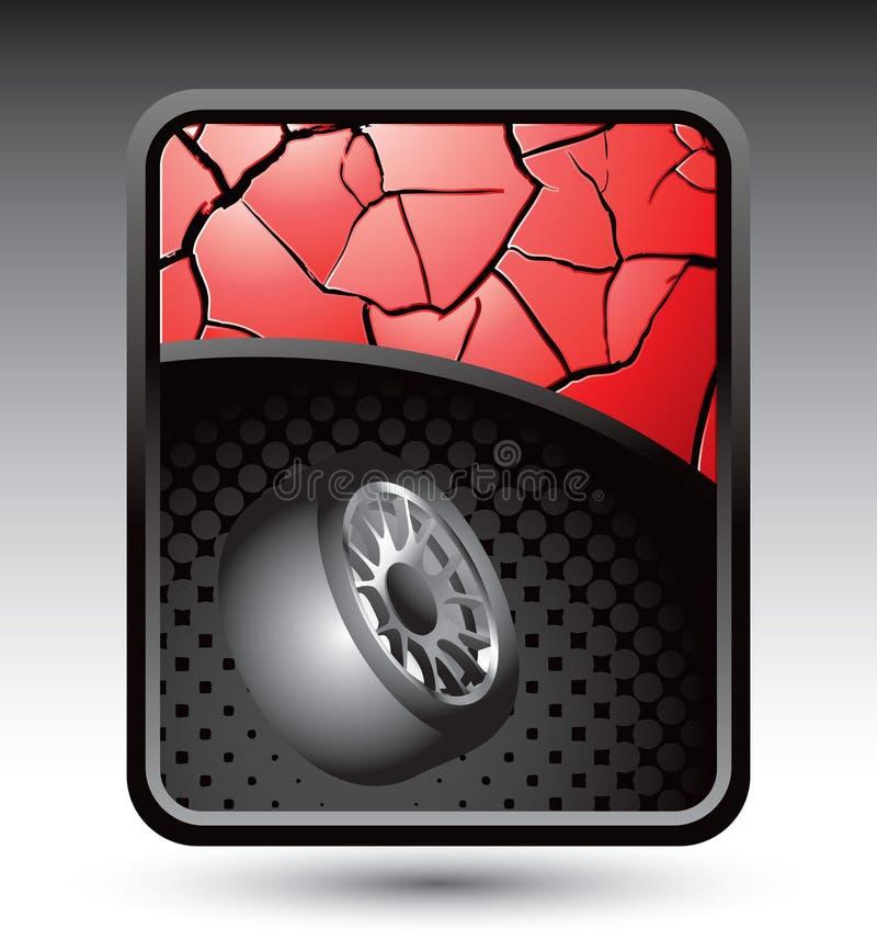 sprucket rött gummihjul för bakgrund royaltyfri illustrationer
