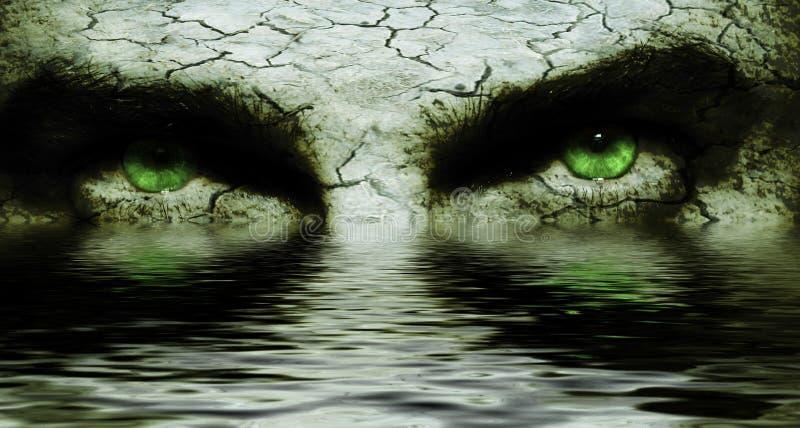 spruckna ögon vänder läskigt mot arkivfoton