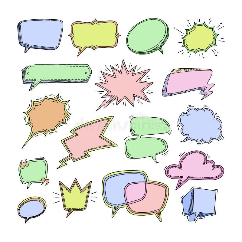 Sprudelnde Mitteilungen der Sprache des Blasenvektorfreien raumes für Kommunikations- oder Dialogsatz Chat-Ballonskizze der Karik stock abbildung