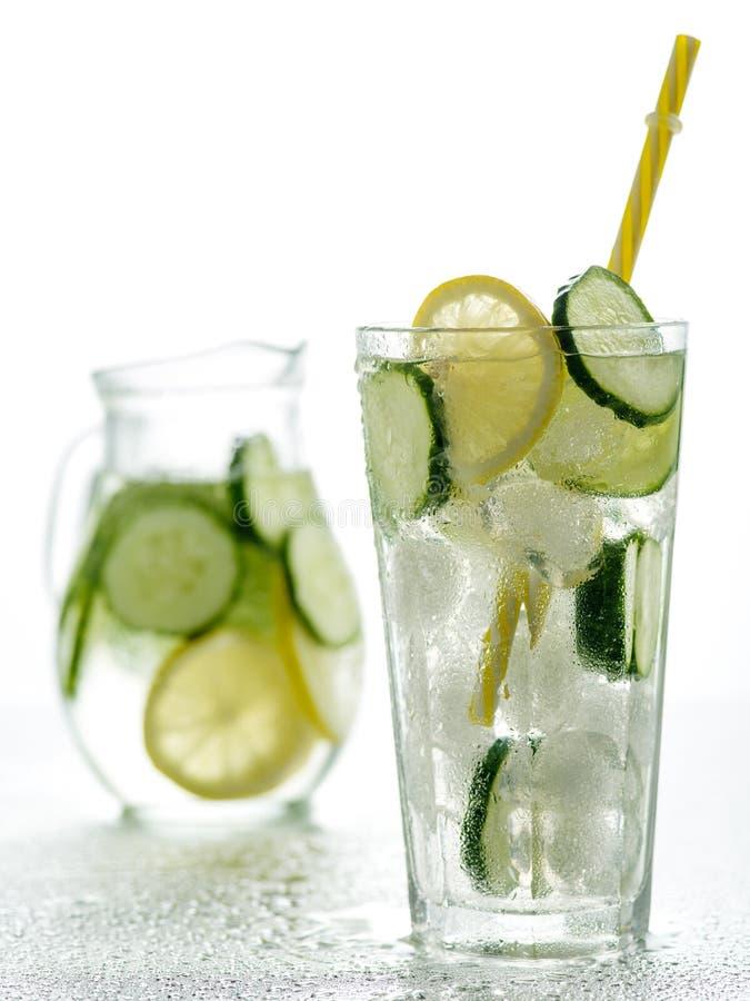 Sprudelndes Wasser des gesunden Detox mit Zitrone und Gurke in Highball-gl lizenzfreie stockfotos