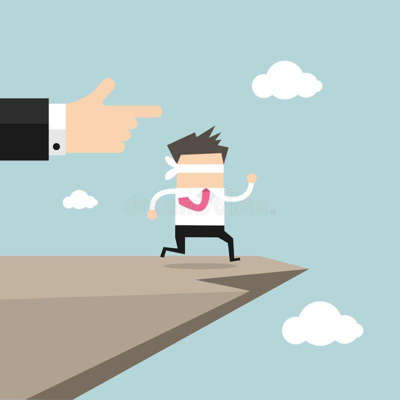 Sprung des Glaubenkonzeptes Geschäftsmann mit verbundenen Augen geht weg von einer Klippe stock abbildung