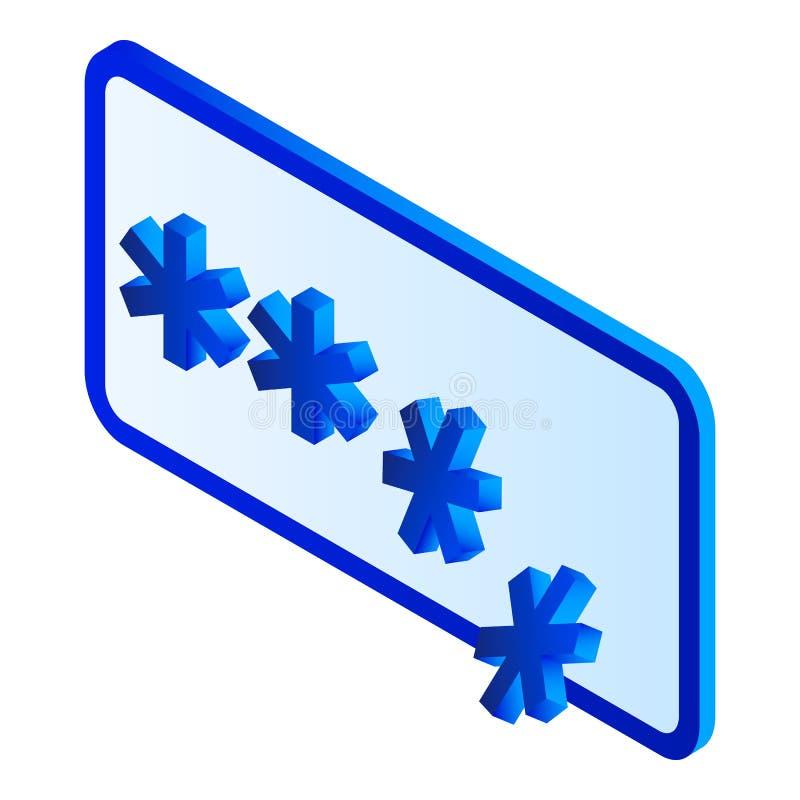 Sprungspasswortikone, isometrische Art lizenzfreie abbildung