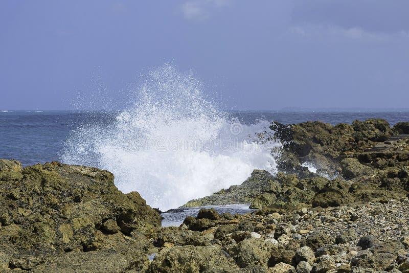 Spruzzando le acque sulla riva rocciosa fotografie stock libere da diritti