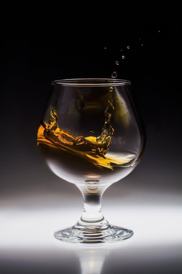 Spruzzata ambrata della bevanda dell'alcool in vetro fotografia stock libera da diritti