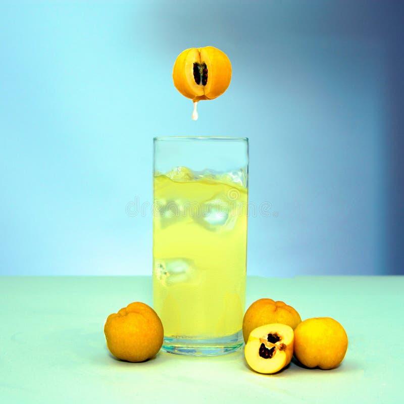 Spruzzata del succo di Fruite isolata su bianco e sul ghiaccio immagini stock libere da diritti
