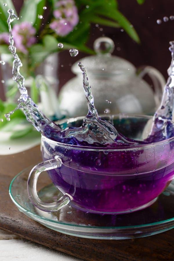 Spruzzata del tè anchan di clitoria con il succo di agrumi fotografia stock libera da diritti