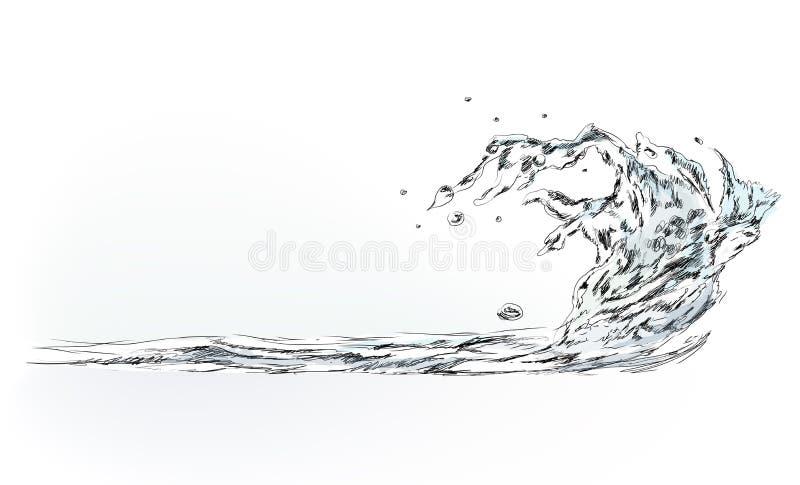 Spruzzata dell'acqua, raccolta di schizzo illustrazione di stock