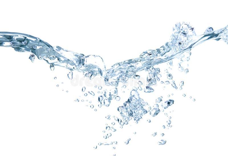 Spruzzata dell'acqua su bianco immagine stock