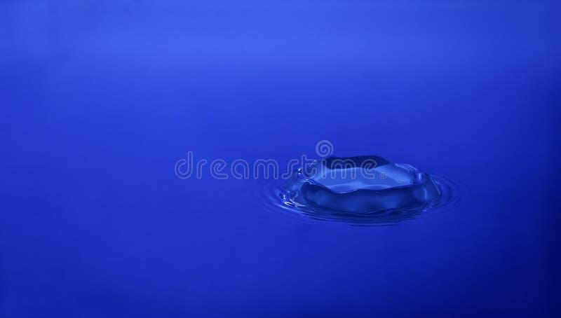 Spruzzata dell'acqua su fondo blu fotografia stock
