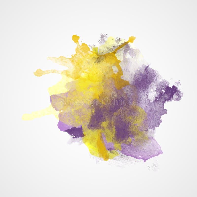 Spruzzata dell'acquerello con effetto di pendenza Colori viola e gialli illustrazione vettoriale