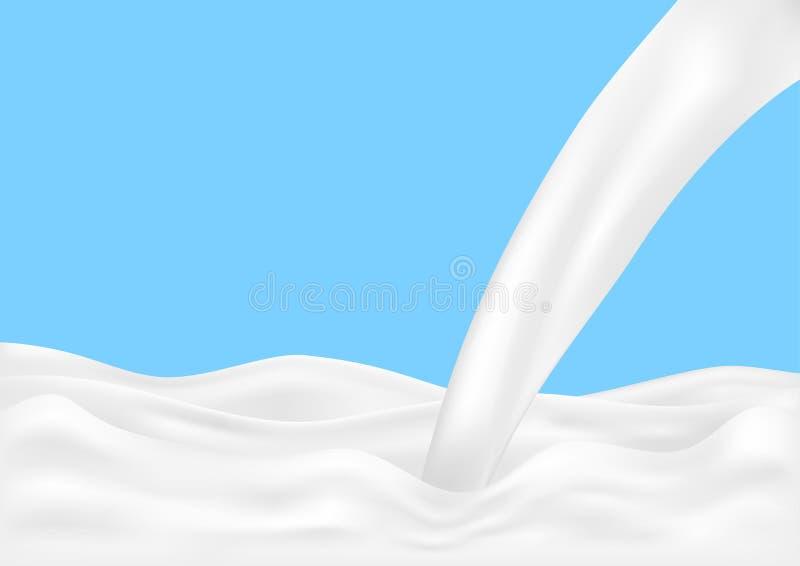 Spruzzata di versamento del latte isolata su fondo blu Illustrazione di vettore royalty illustrazione gratis