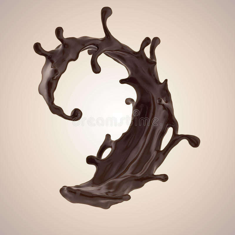 Spruzzata dinamica liquida della bevanda del caffè o del cioccolato illustrazione di stock