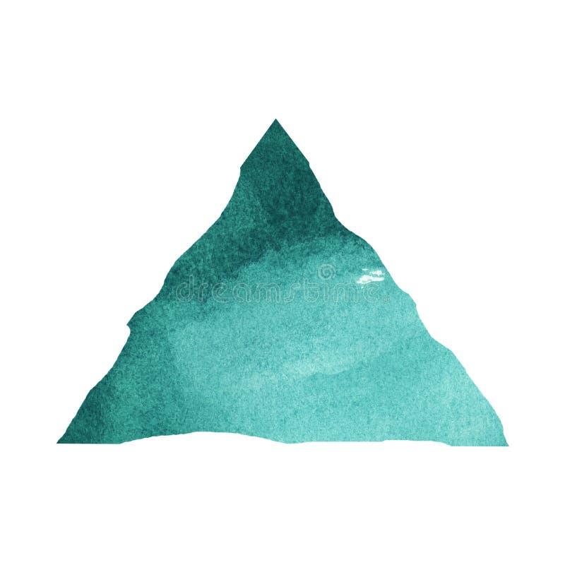 Spruzzata scura della piramide di Emerald Watercolor illustrazione vettoriale