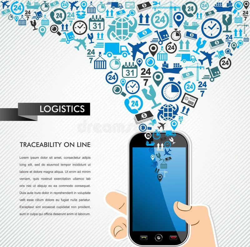Spruzzata umana mobile delle icone della mano di logistica di trasporto. illustrazione di stock