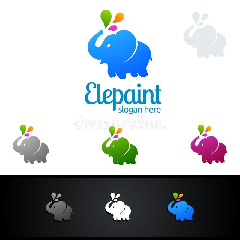 Spruzzata variopinta del logo dell'elefante, vettore di verniciatura Logo Design royalty illustrazione gratis